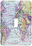 3dRose lsp_112941_1 Colorful Vintage World Map Distance Calculations Between Countries on Lines South America Africa Light Switch Cover