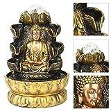 𝐑𝐞𝐠𝐚𝐥𝐨 𝐝𝐞 𝐍𝐚𝒗𝐢𝐝𝐚𝐝 Semiter Fuente de Buda, decoración de Fuente de Escritorio Adorno de Agua Que Fluye de Buda con decoración de luz y Bola, Fuente de Mesa para decoración del Paisaje de