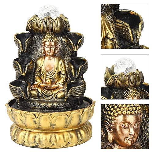 Semiter Fuente de Buda, decoración de Fuente de Escritorio Adorno de Agua Que Fluye de Buda con decoración de luz y Bola, Fuente de Mesa para decoración del Paisaje de