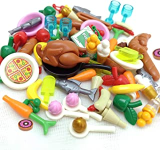 ZHX 82PCS Foods Building Blocks Sets Hot Dog Pizza Turkey Cream Food Set Fruit Bricks Toys City Accessories Parts for Children