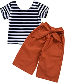 Baby Girl Pants Set Striped Short Sleeve Shirt + Bowknot Wide Leg Pants Outfits