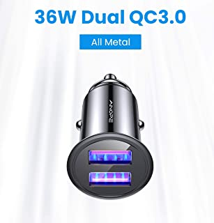 AINOPE USB Car Charger, [Dual QC3.0 Port] 6A/36W Mini Fast Car Charger Metal Alloy Cigarette USB Adapter Charge Compatible with iPhone XR/X/Xs max, Note 9/Galaxy S10/S9/S8,iPad Air 2/Mini 3/Pro