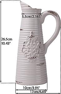 Vases à Fleurs en Céramique, 26.5cm Cruche décorative à la main blanche en détresse vintage avec poignée pour salon, cuisine, table, maison, bureau, mariage, centre de table ou comme cadeau