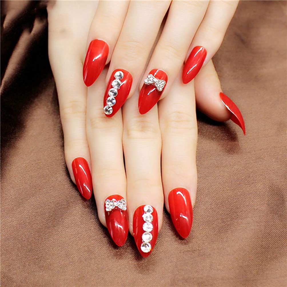 圧縮する擬人何でもXUTXZKA 24本/箱赤いスティレット偽の爪の石のパターンは指のための暗い光沢のある長押しを指摘