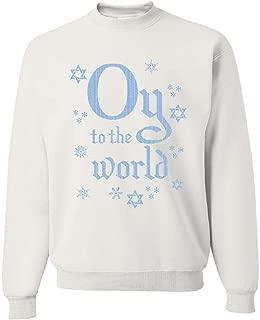 Oy to The World Sweatshirt Hanukkah Jewish Star of David Menorah Sweater