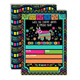 Chippin', Dippin' & Pinata Hittin' Neon Fiesta Birthday Party Invitations, 20 5'x7' Fill in Cards with Twenty White Envelopes by AmandaCreation