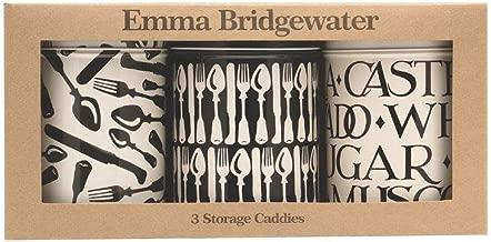 Emma Bridgewater Knife And Forks Set of 3 Kitchen Storage Tins Tea Coffee Sugar Cream And Black British Made