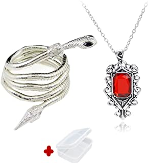PPX 2 Pcs City of Bones Isabelle Lightwood's Electrum Whip Serpent Snake Bracelet and Necklace Set with Mini Box