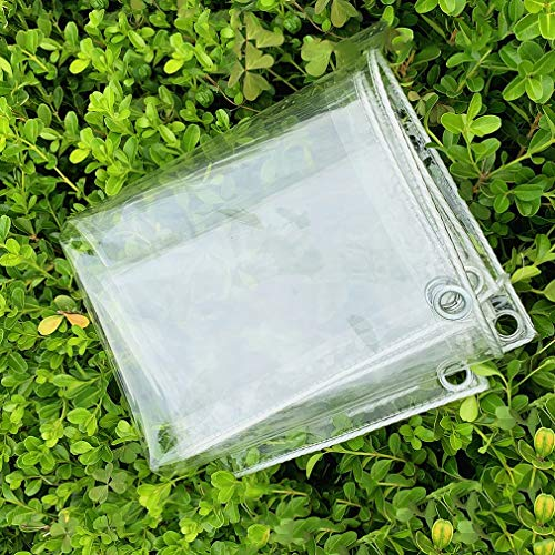 Lona Impermeable Transparente PVC,Lona Cubierta de Muebles de Lona Transparente con Arandelas,0,3mm Película de Cortina Suave de Plástico for Ventana/Puerta/Cubierta de Plantas (2x2m/6.6x6.6ft)