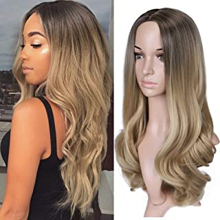 HANNE Ombre Blonde Wigs Long Wavy None Lace Front Wig Dark Brown to Blonde Synthetic Hair Wigs for Women (4/Blonde)