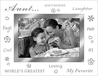 Malden International Designs Aunt Mirrored Glass With Mirrored Inner Border Picture Frame, 4x6, Silver