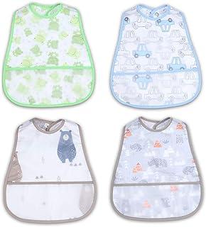 NoriNori Baby Bib - Toddler Bib, Food Bib, Feeding Bib, Infants Bib with Pocket and Snap Button, Waterproof, Machine Washable, Soft, Stain and Odor Resistant, 4-Pack, 6-24 Months-Car&Bear&Frog