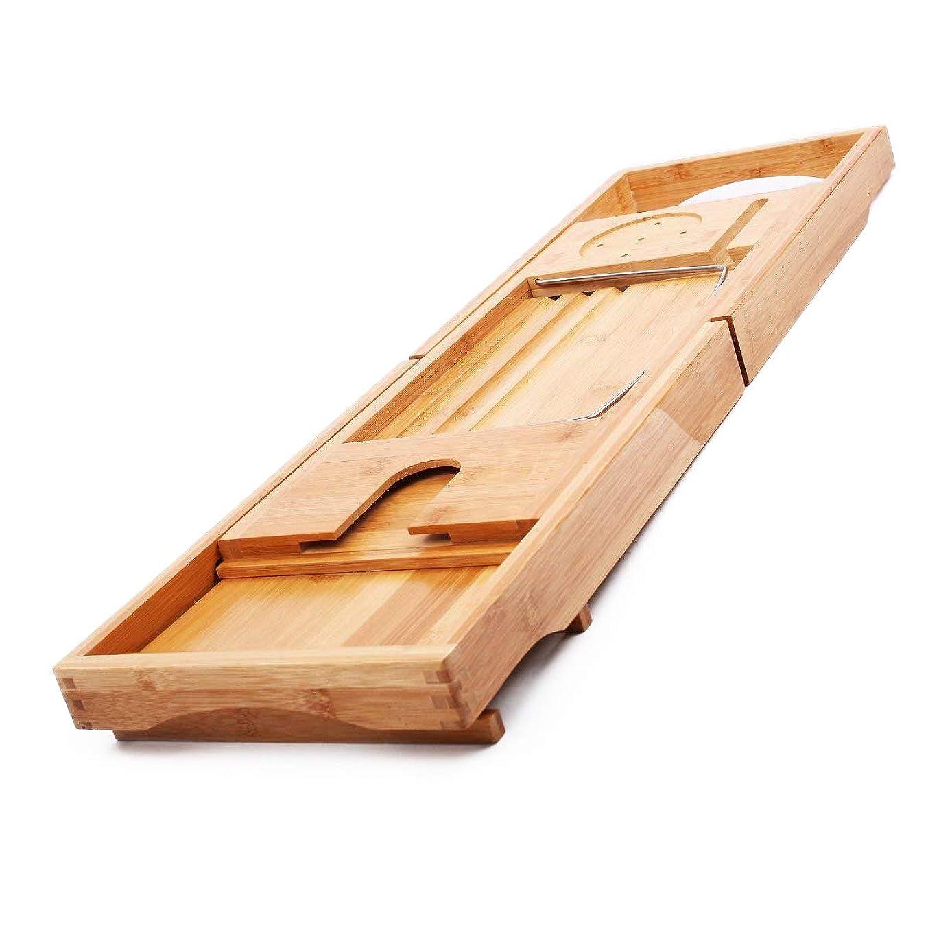 膜フォージ思い出させるMYHO 竹製 伸縮 バスタブトレー バスタブラック バステーブル 竹 ブックスタンド お風呂場 収納ラック テーブル お風呂用品 バスグッズ