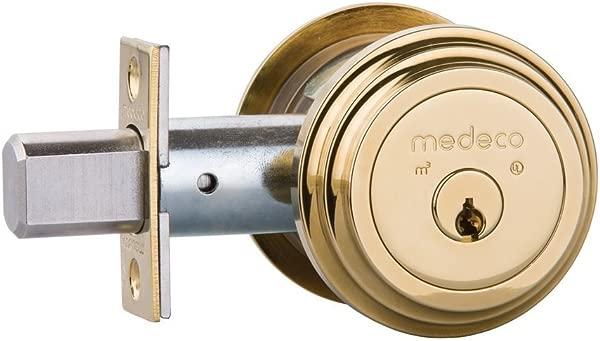 Medeco Maxum 住宅插销单缸明亮黄铜由 Medeco 安全锁