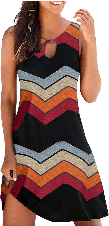 TAYBAGH Beach Dresses for Women Plus Size, Womens Dragonflye Printed Casual Summer Dress Knee Length Sleeveless Sundress