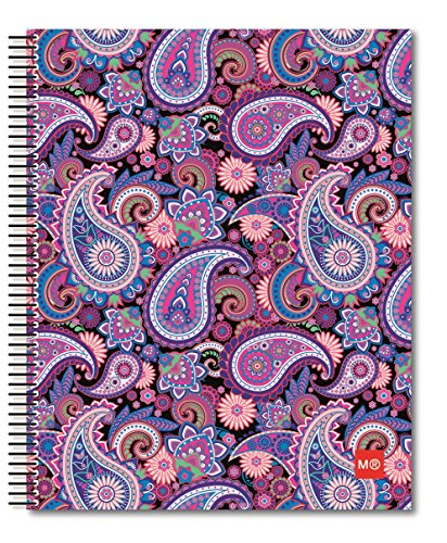 Miquelrius Medium Spiral Bound Notebook, Purple Paisley (6.5 x 8, 4-Subject, College Ruled)