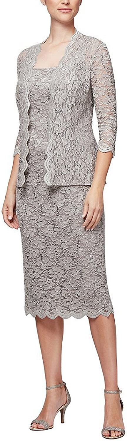 Alex Evenings Women's TLength All Over Lace Dress with Jacket Set