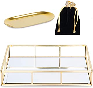 Verzille Large Gold Mirror Tray: Ornate Decorative Tray - Jewelry, Makeup & Perfume Organizer - Bathroom Vanity, Bedroom Dresser, Bar or Coffee Table Glass Display Tray with Small Jewelry Tray & Bag
