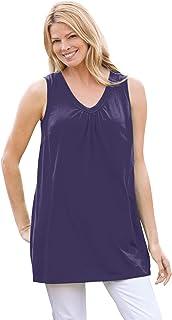 Woman Within Women's Plus Size Perfect Sleeveless Shirred V-Neck Tunic
