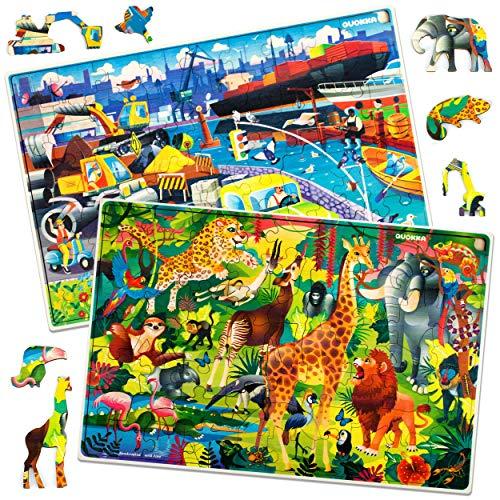 QUOKKA Puzzle Per Bambini Dai 4-8 Anni - 3 Puzzle Da Pavimento Per Bambini 3-5 Anni - Grandi Giochi Da 80 Pezzi Progettati Per La Gioia Dei Tuoi Bambini  100