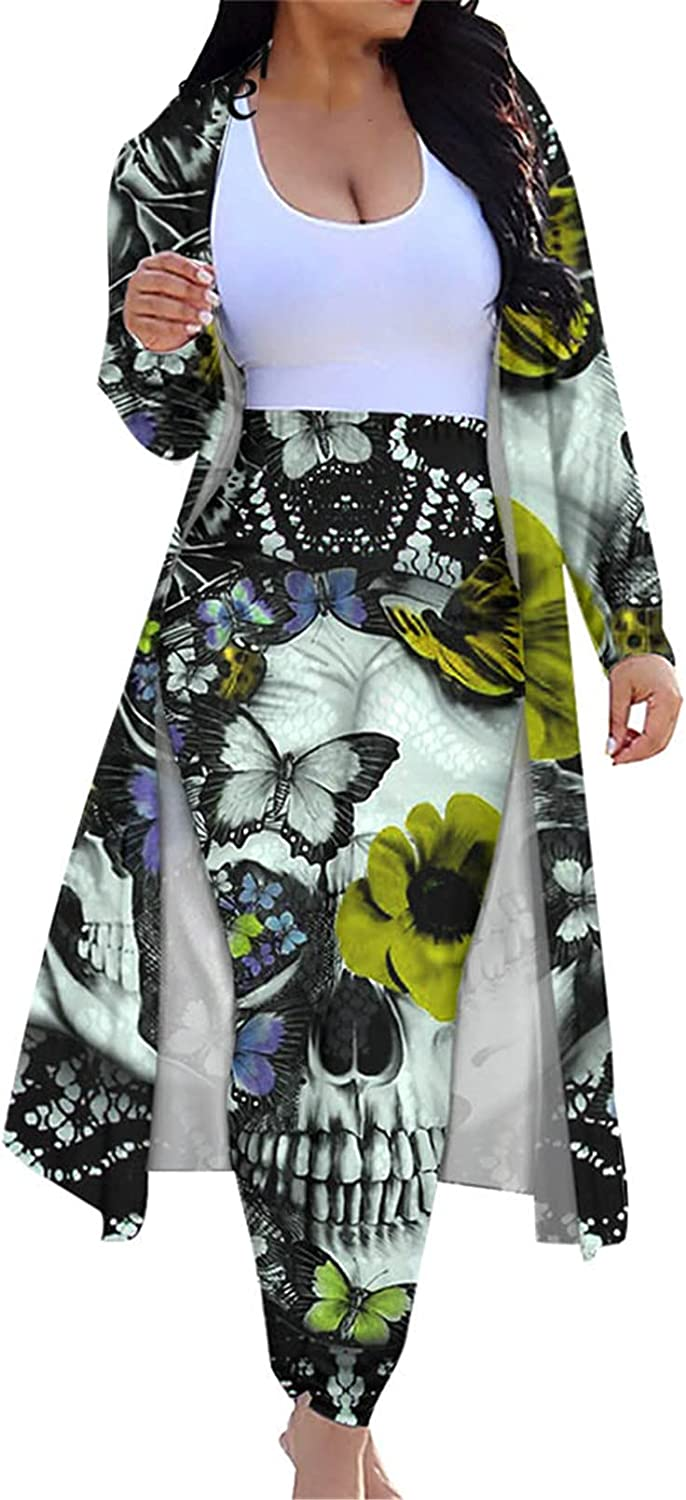 Skull Floral Print 2 Piece Set Women Cardigan Tops and Bodycon Pants Suit
