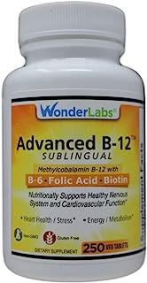 Sublingual Vitamin B12 (1000 mcg), B6 (5mg), Folic Acid(400 mcg) & Biotin (25mcg) - Formulated with Methylcobalamin Vitamin B-12 (250 Tablets)