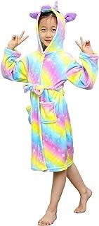 Kids Robes for Girls,Soft Unicorn Hooded Bathrobe Sleepwear