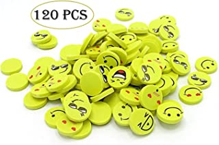 Mega Stationers Emoji Erasers - Pack Of 120 Pencil Erasers Emoticon Mini Novelty Party Favor School Prize Reward - Cute Face Expressions For Kids