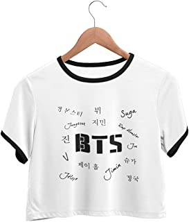 HeartInk BTS Bangtan Boys Fan Art Printed Black Ringer Crop Top T-shirt-HINBTSCT07
