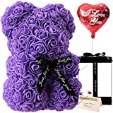 Gifts for Women - Rose Flower Bear Rose Bear ,Pure Handmade Rose Teddy Bear ,Gift for Mothers Day,Valentines Day, Anniversary and Bridal Showers,w/Clear Gift Box and Greeting Card (Purple)