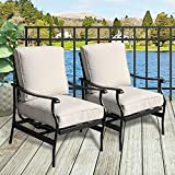 PatioFestival Outdoor Chair Bistro Cushioned Rocking Sofa Chairs Patio Furniture Sets Modern Conversation Set with 5.1 Inch Thick Seat Cushions (2PCS-2, White)