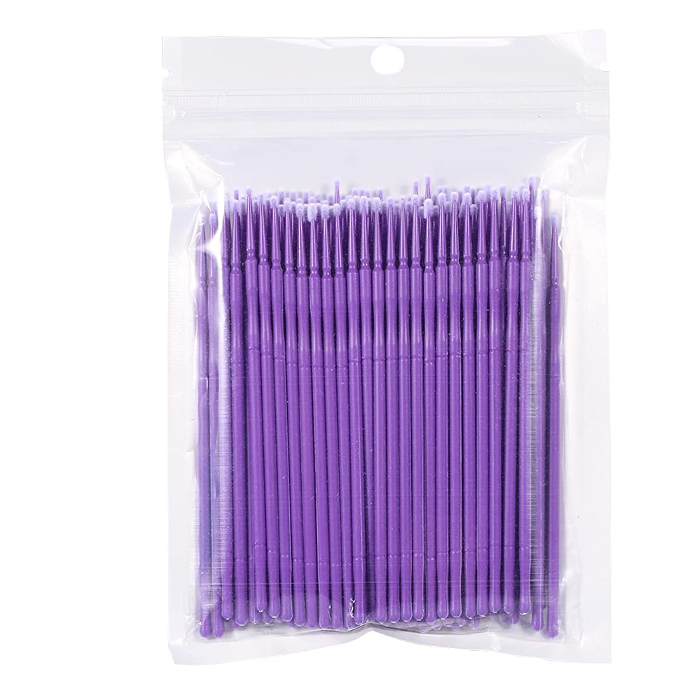 調和のとれたアーティストマージン使い捨てまつげブラシ、400ピースマスカラワンドまつげエクステンションメイクマイクロアプリケータブラシ(紫の)