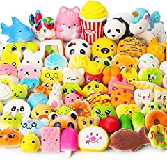 【Environmental Protection Material】All our Squishies toys are made of safe, non-polluting materials, polyurethane foam (PU foam),super soft with adorable looks and reassuring pillowy texture 【Size】 Length: 4cm-12cm, 70 random(One Jumbo+69 PCS Mini Sq...