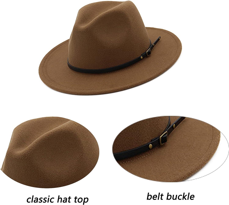 Womens Felt Fedora-Hat - Classic Wide Brim Panama Hat with Belt-Buckle (M-L)