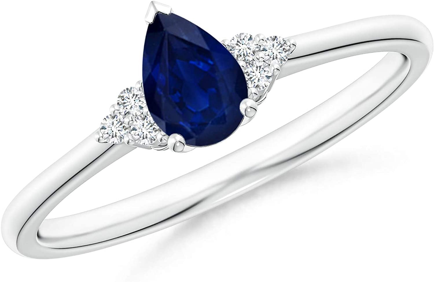 Pear Sapphire Solitaire Ring New Shipping Free Shipping with Diamond Trio Bl Finally popular brand 6x4mm Accents