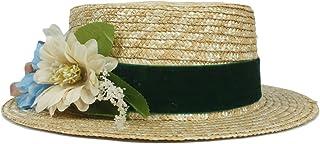 Songlin @ yuan Fashion Good Looking Summer Straw Women Sun hat Fashion Lady Summer Flat Prok Pie Sunbonnet Boater Beach Hat with Flower (Color : Green, Size : 56-58CM)