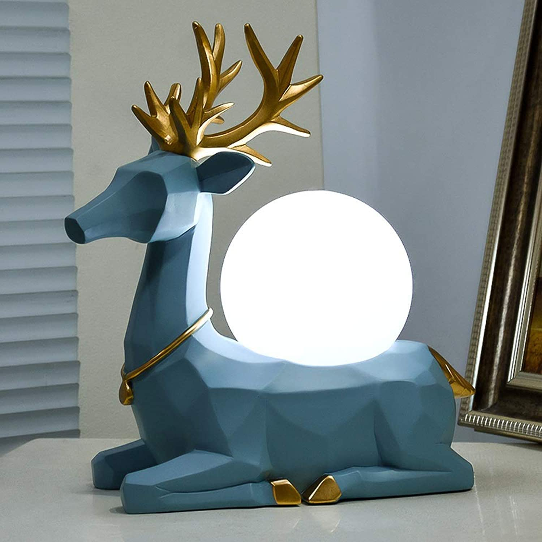 LED Augenschutz Tischlampe Harz Hirschkopf Kreative Dekoration Lampe Nordic Nachttischlampe Dekoration Leselampe (Farbe   Blau)