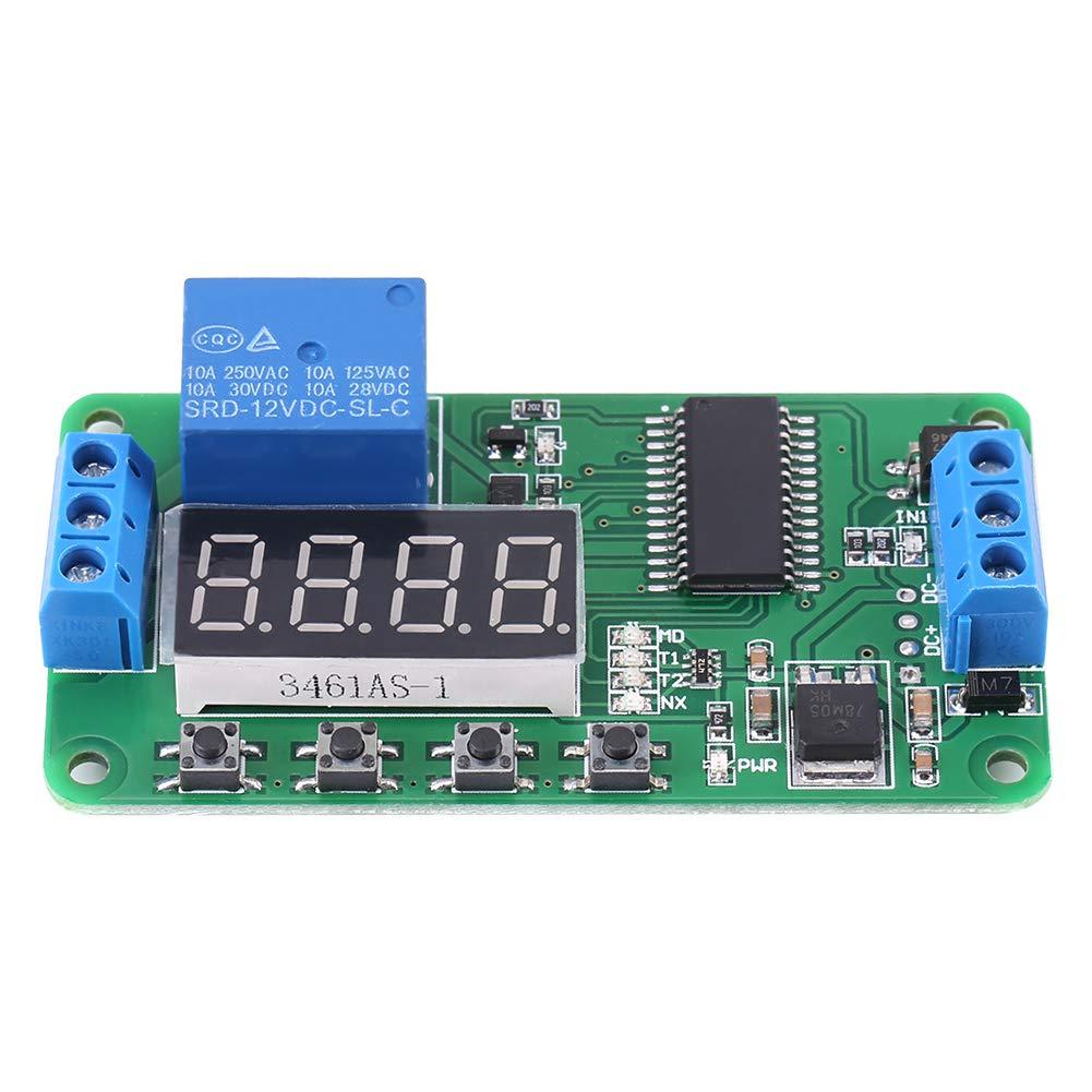 ce030_12V 1 canal 12V tubo digital relé de retardo multifuncional LED interruptor temporizador de tiempo PLC hogar inteligente