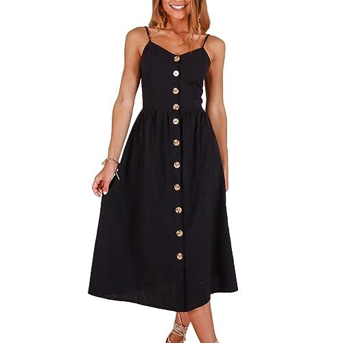 7f0a280195be ZESICA Women's Summer Spaghetti Strap Solid Color Button Down Swing Midi  Dress
