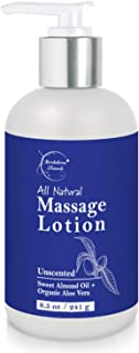 All Natural Massage Lotion with Sweet Almond Oil & Organic Aloe Vera – Unscented, Non Greasy Formula - Perfect for Massage Therapy to Relax Sore Muscles – By Brookethorne Naturals - 8.5oz