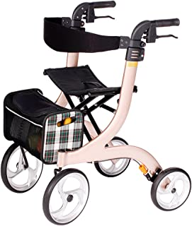 Drive Medical Nitro - Andador con asiento y ruedas (tamaño M), color champán y negro