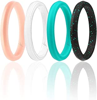 ROQ Silicone Wedding Ring for Women, Affordable Thin Line and Point Stackable Silicone Rubber Wedding Bands, 8, 4 & Single Packs