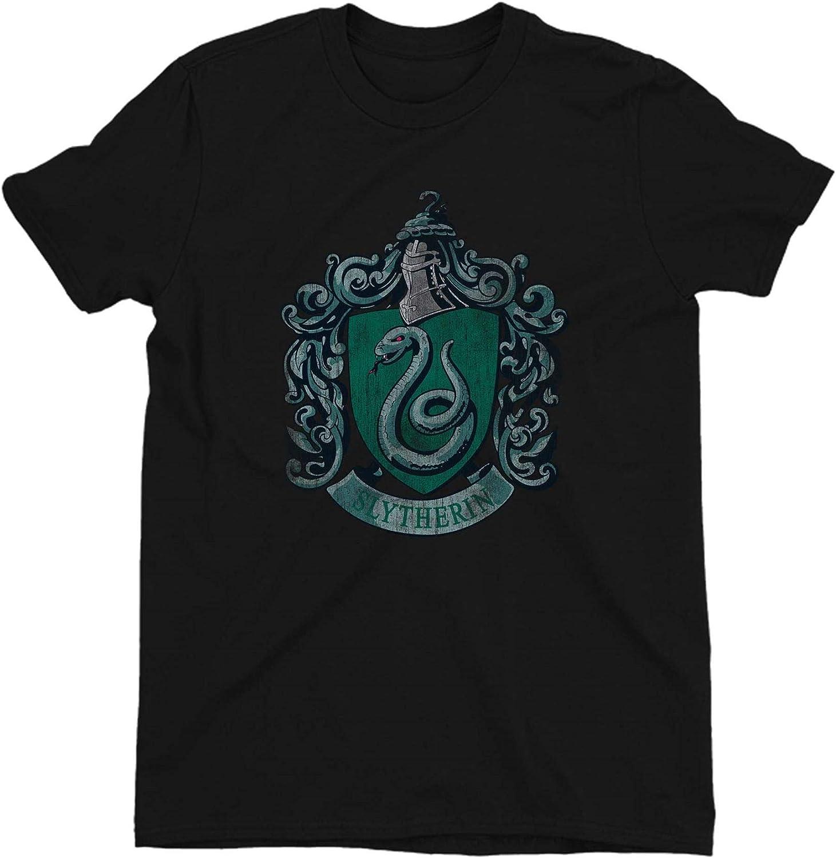 HARRY POTTER Distressed Slytherin Crest Ladies Black T-Shirt
