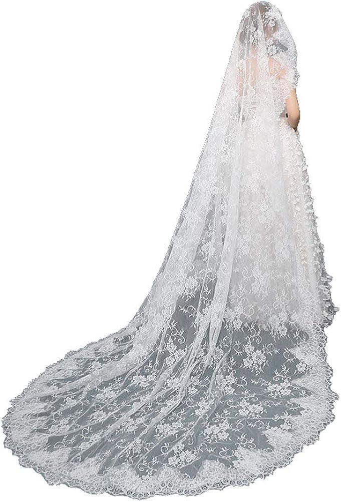 Fenghuavip White Lace 1T Bridal Veils Appliques Long Wedding Veils