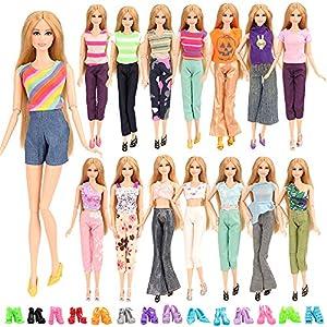 Miunana 5 Traje de Ropa Casual Hecha a Mano Chaleco 5 Camiseta + 5 Pantalones + 10 Sandalias Accesorios como Regalo para 30 cm 11.5 Inch Doll Muñeca