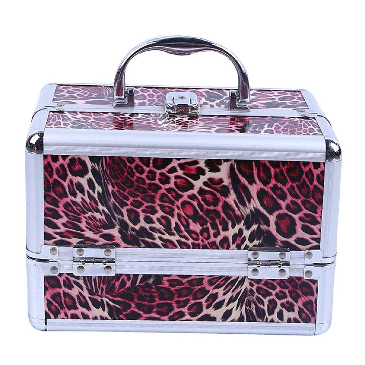 化粧オーガナイザーバッグ ヒョウパターントラベルアクセサリーのポータブル化粧ケースシャンプーボディウォッシュパーソナルアイテムロックと拡張トレイ付きストレージ 化粧品ケース