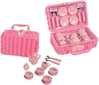 Floss and Rock Think Pink Spotty 17-Piece MINI Ceramic Tea Set in Basket