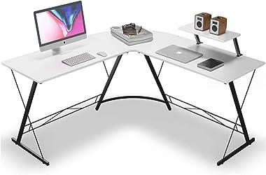 JIEANXIN L字デスク パソコンデスク 机 PCデスク デスク L字型 オフィスデスク コーナーデスク ワークデスク アジャスタ付き モニター台付き 左右入れ替え可能 在宅勤務 (ホワイト, 129cm)