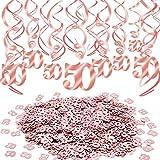 Qpout Decoraciones de remolinos Colgantes de Oro Rosa (30 Cuentas) Confeti de Mesa de Estrella de Oro Rosa (30 g) por aplausos a 50 años Aniversario Cumpleaños Boda Fiesta Hogar Decoración de la Mesa