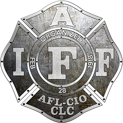 "The 4"" Riveted Iron IAFF Union 3m Vinyl Firefighter American Made Window Decal"